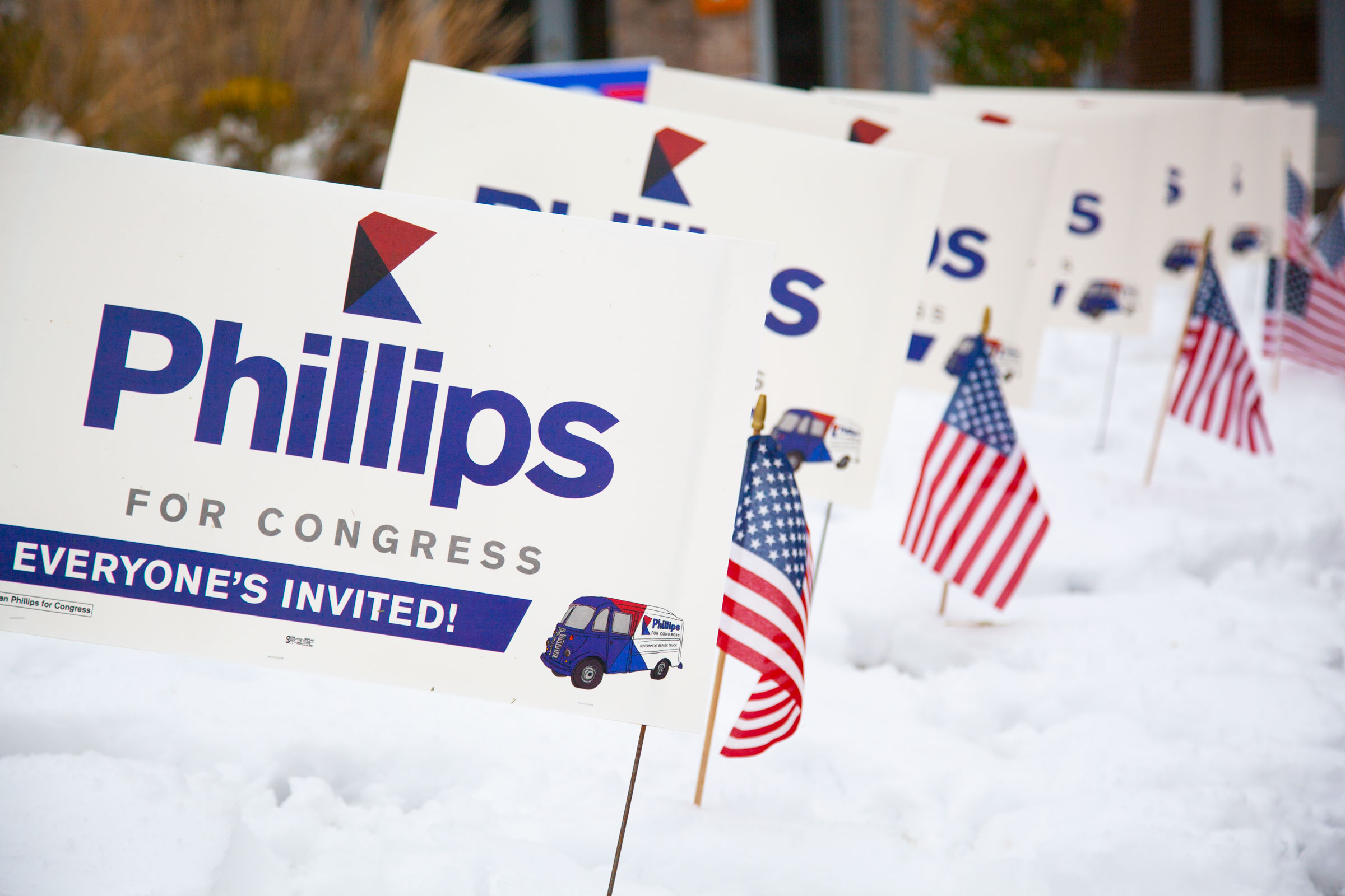 Phillips for Congress supporter with her yard sign