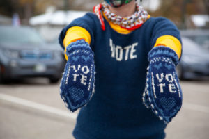 vote sweater and mittens